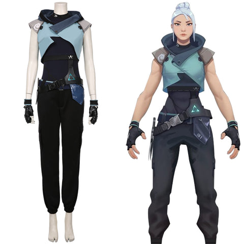 Game Valorant Jett Cosplay Costume Halloween Jumpsuit Outfits