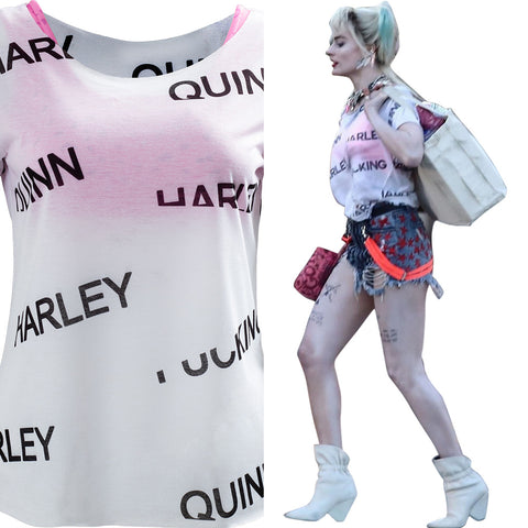 Harley Quinn Birds of Prey Underwear T-shirt Cosplay Costume