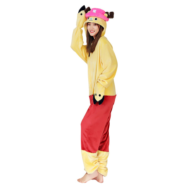 Anime One piece ·Chopper Halloween Carnival Costume Cosplay Costume Pajama Adult Unisex Onesies Polyester Sleepwear Pyjamas
