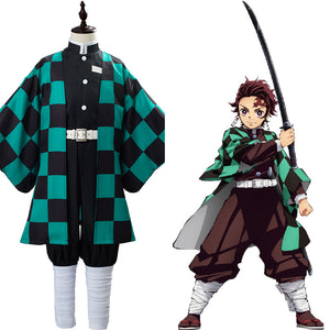 Anime Demon Slayer Kimetsu no Yaiba Kamado Tanjirou Cosplay Costume Kids Children Uniform Outfits