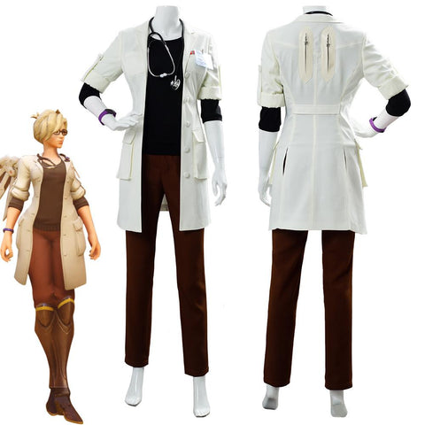 OW Overwatch Mercy Angela Dr. Ziegler Skin Uniform Cosplay Costume
