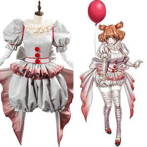 Pennywise Horror Pennywise The Clown Costume Cosplay Costume Outfit for Women Girls Halloween Carnival