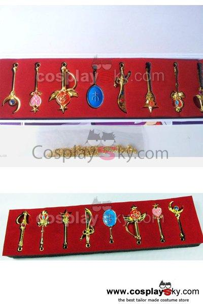 8pcs Sailor Moon Pretty Guardian Tsukino Usagi Keychain Necklace Pendant