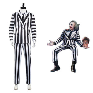 Beetlejuice Adam Halloween Carnival Costume Cosplay Costume Men Black and White Striped Suit Jacket Shirt Pants Outfits