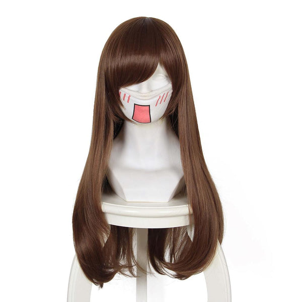 DVA Hana Song cosplay wig Overwatch OW cosplay wig Brown long hair
