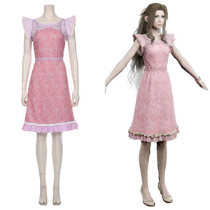 Final Fantasy VII Remake-Aerith Gainsborough Halloween Carnival Outfit Cosplay Costume Pink Dress