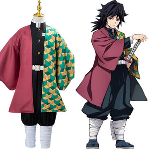 Anime Demon Slayer Kimetsu no Yaiba Tomioka Giyuu Cosplay Costume Kids Children Uniform Outfits