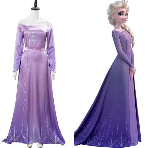 Elsa Frozen 2 Nightgown Gown Arendelle Bedroom Purple Dress Violet Pink Cosplay Costume