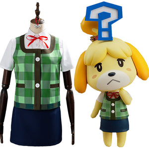 Game Animal Crossing Isabelle Cosplay Costume Halloween Women Uniform Outfits