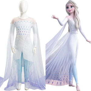 Frozen 2 Elsa Kid Child Ver Cosplay Costume Ahtohallan White Snow Ice Flake Dress