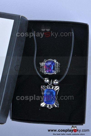 Black Butler Sapphire Ring Pendant Necklace Cosplay Prop