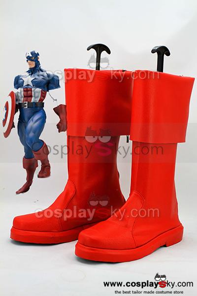 The Avengers: Captain America Red Cuffed Cosplay Boots - DeluxeAdultCostumes.com