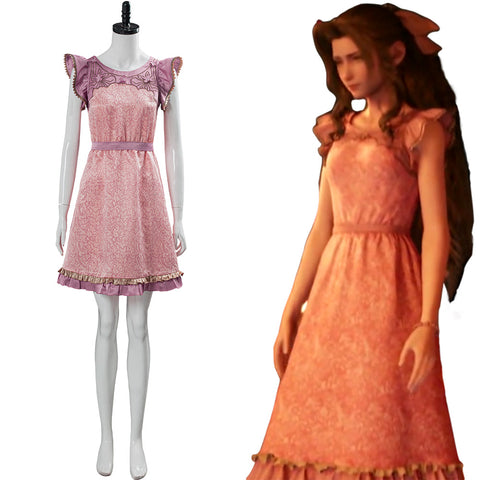 Final Fantasy VII:7 Remake Aerith Wall Market Cosplay Costume the Honeybee Inn Pink Short Dress