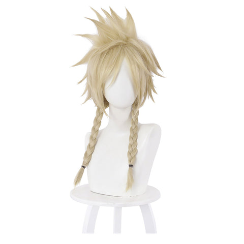 FF7 Final Fantasy VII Cloud Strife Cosplay Wig Two Braids Hair Short Golden Braided Synthetic Hair