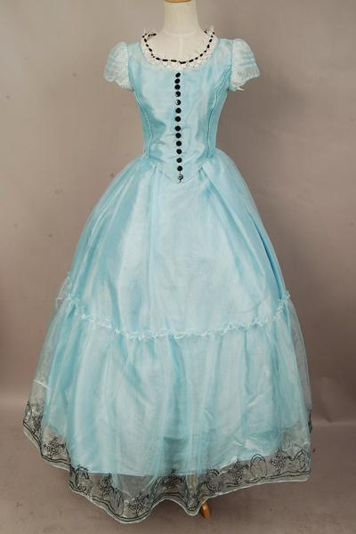 Victorian Kids Costumes & Shoes- Girls, Boys, Baby, Toddler Tim Burtons Alice In Wonderland Alice Blue Dress Costume $99.99 AT vintagedancer.com