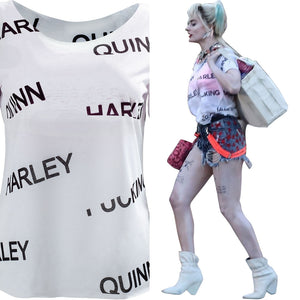 Harley Quinn Birds of Prey Top Women Summer T-shirt Cosplay Costume