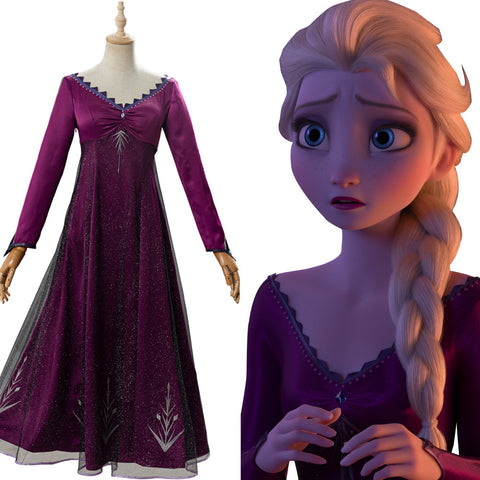 Adult Elsa Frozen 2 Purple Dress Outfit Cosplay Costume