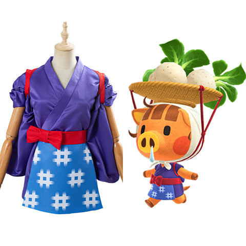 Game Animal Crossing Daisy Mae Women Kimono Outfit Cosplay Costume Halloween Carnival Costume