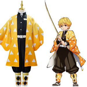 Anime Demon Slayer Kimetsu no Yaiba Agatsuma Zenitsu Cosplay Costume Kids Children Uniform Outfits