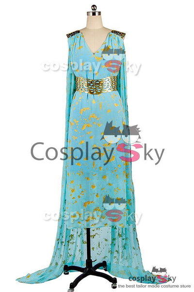 GOT Game of Thrones Daenerys Targaryen Blue Dress Cospaly Costume