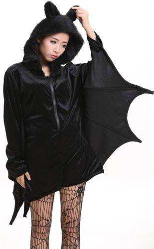 Halloween Sexy Black Bat Wings Womens Adult Cosplay Costume