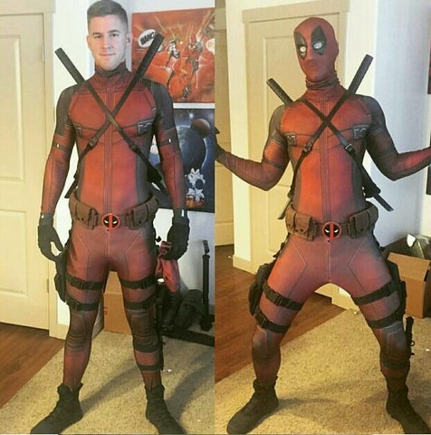 Marvel Comics Deadpool Outfit Jumpsuit Cosplay Costume Version B