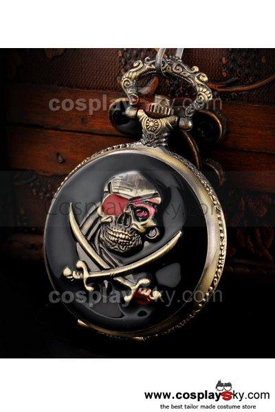 Pirates Skull and Dagger Pocket Watch Cosplay Prop