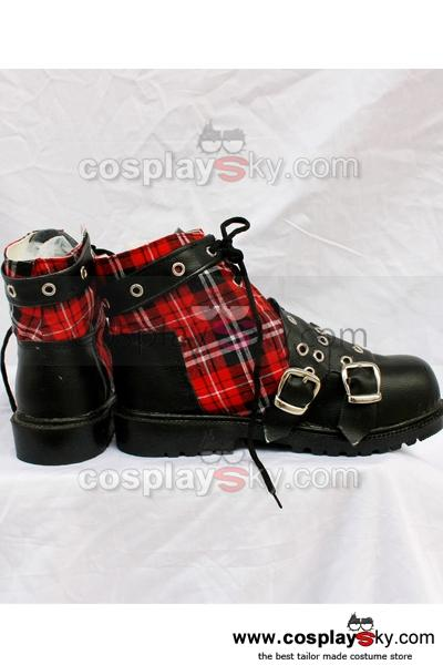 Punk Red Plaid Classical Boots B Version Custom-Made