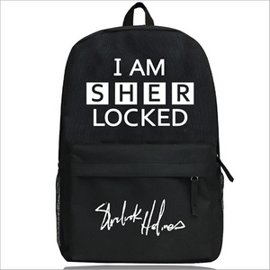 Sherlock Holmes I AM SHER LOCKED Schoolbag Black Backpack