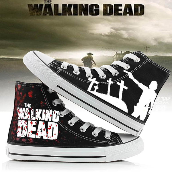 The Walking Dead Canvas Shoes Black Sneakers Cosplay Shoes