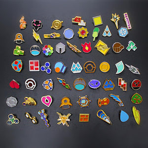 Pokemon XY Kanto Hoenn Kalos Gym Badges Pins Cosplay Gift Collection