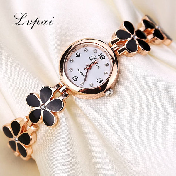 Lvpai Brand Luxury Crystal Gold Watches Women Fashion Bracelet Quartz Wristwatch Rhinestone Ladies Fashion Watch Gift - Bagssaccessories