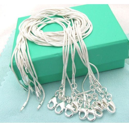 Wholesale retail 16 18 20 22 24 inch bulk c008 fashion silver Colour 1MM snake chain accessory jewelry findings stamp 925 - Bagssaccessories