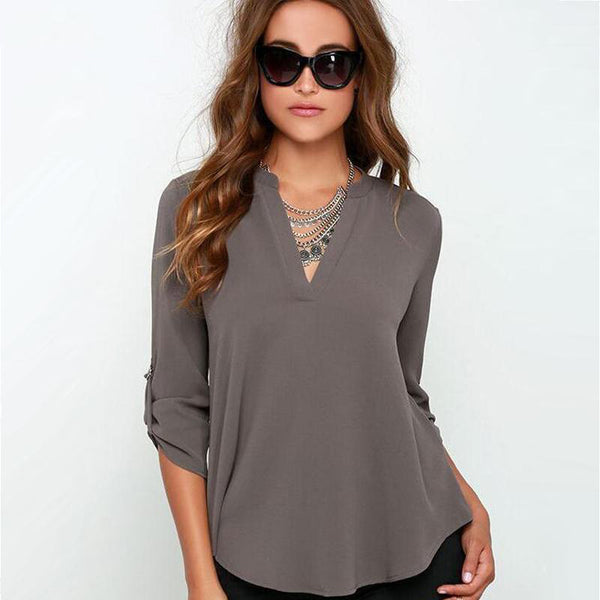 Tops Women V-neck Chiffon Blouses 3/4 Sleeve Female Shirt