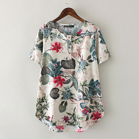 Summer Clothing Women T-shirt Plus Size Short Sleeve Cotton Linen Blend Print Top T Shirt