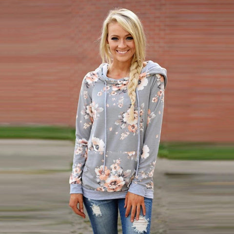 2018 Autumn Fashion Women Hooded Floral Print Long Sleeve Sweatshirt