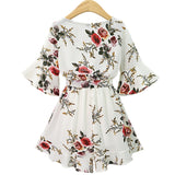 2018 Black Short Rompers Printing Flower V Neck Jumpsuit Plus Size Women Romper