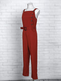 2018 Fashion Summer Women Elegant Casual Red Slinky Romper Sleeveless Solid Color Button Design Jumpsuit