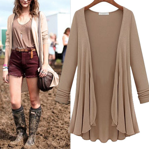 2018 NEW Fashion Cotton Thin Long Sleeve  Big Size Flounce Cardigan Sweater