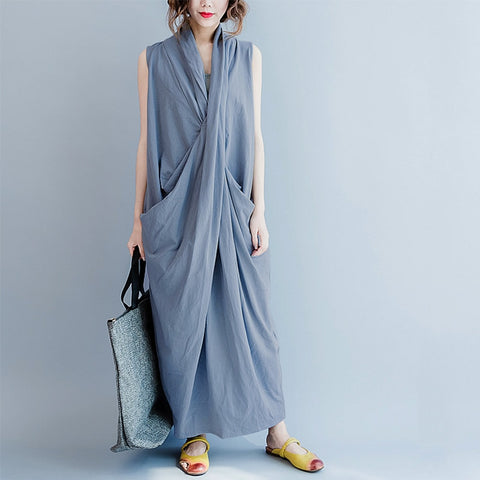 2018 Summer Women Casual Sleeveless Deep V-Neck Maxi Loose Dress