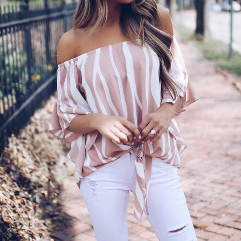 2018 Women Striped Summer Blouses Slash Neck Off Shoulder Tops Sexy Blouses