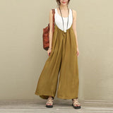 2018 Women Overalls Wide Leg Pants Vocation Dungarees Casual Cotton Linen Jumpsuits