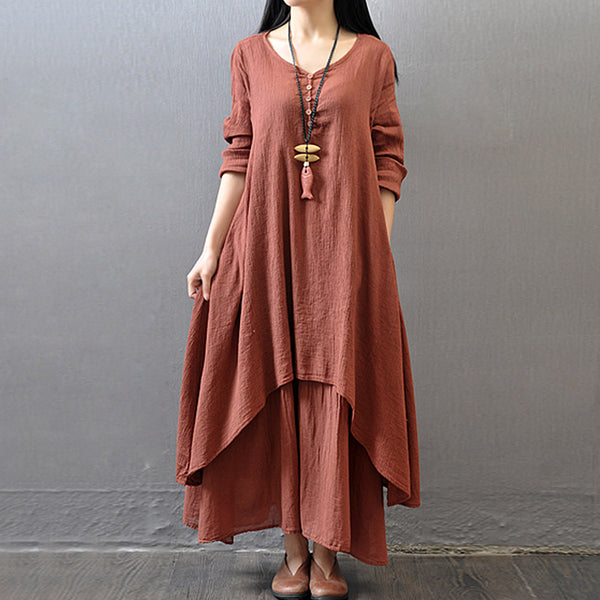 Loose Cotton Linen Maxi Dress Plus Size Breathe Freely O-Neck Long Sleeve Dresses