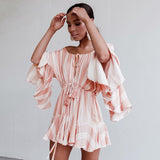 Sexy Off Shoulder Embroidery Women Flare Sleeve Ruffle Short Romper