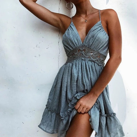 2018 Summer Sexy Women Bohemia Floral Print Lace Halter Dress