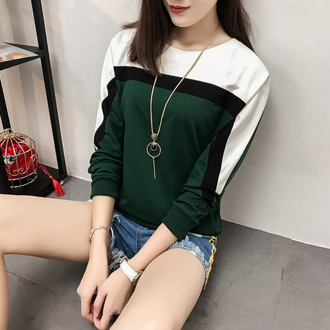 2018 Autumn Winter Long Sleeve T shirt Women Tops O-neck Loose Cotton T-shirt