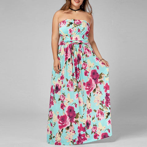 Plus Size Strapless Floor Length Floral Dress Women Dresses Summer Casual Boho A-Line Dress