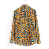 Autumn New Arrived Orange Leopard Shirt Women's Chiffon Lapel Long Sleeved Shirt Leopard printing Blouse Clearance Price S-XL