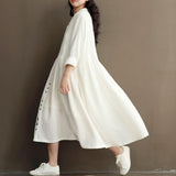 Autumn Summer Dress Loose Women Cotton Linen V Neck Long Sleeve Maxi Dresses