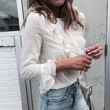 Fashion Women Tops And Blouses Long Sleeve Elegant Ruffles White Blouse